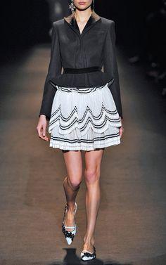 Cotton Tulle Skirt With Contrast Trim by Alberta Ferretti for Preorder on Moda Operandi