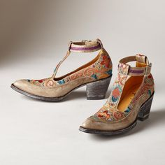 """DEBORAH RICO T-STRAP SHOES--Kick up your heels in Old Gringo's unique, handmade Western-style T-strap shoes. Bright and festive embroidery on richly dyed leather. Imported. Whole and half sizes 6 to 10, 11. 2-1/2"""" heel."""