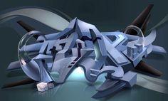 AZOR in 3d Digital Graffiti stack Letters   Digital Graffiti