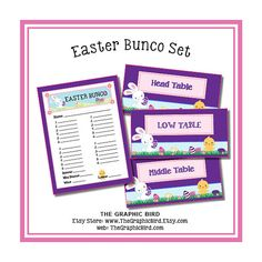 DIY Bunco Set - Easter Theme digital files. score card and Low, Middle, Head Table tents rabbit, chick, eggs, spring game girls night out