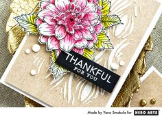 3D Decoupage Technique with Artistic Dahlia and Large Hydrangea stamps. Thank You Cards by Yana Smakula for Hero Arts