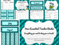 Complete kit to keep you, your lessons, and your classroom organized! Over 70 pages of printables, with a polka dot theme! www.teachingrocks.ca