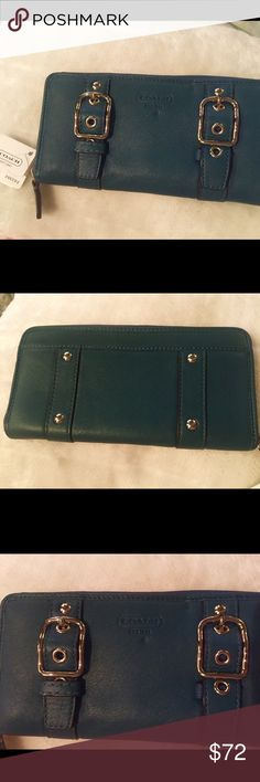 Authentic Coach Leather Buckle Zip Around Wallet👜 Authentic Coach Leather Buckle Zip Around Wallet👜. Peacock - Dark Teal color leather with Silver Buckle Accents. Beautiful wallet!! Has several compartments. Retail $228 Coach Bags Wallets