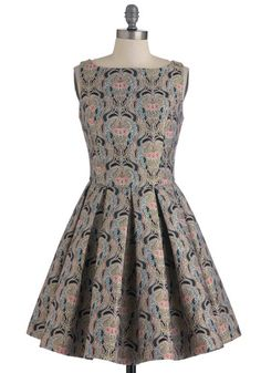 Classic Stunner Dress in Brocade from ModCloth >> The silver and teal in this dress are gorgeous.