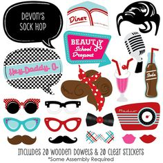 50's Sock Hop Photo Booth Props Prop Kit by BigDotOfHappiness