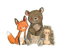 A trio of pals an a trio of fun! art print from an original watercolor, gouache, and acrylic painting by Kit Chase. archival matte paper and ink horizontal prin