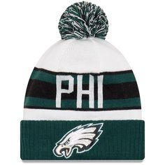 Men s Philadelphia Eagles New Era White Midnight Green Retro Cuffed Knit Hat  With Pom 2bd3a67af