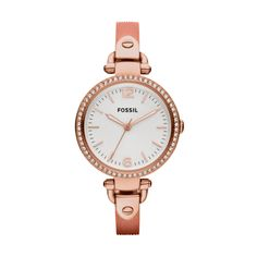 Fossil Georgia Stainless Steel Watch – Metallic Coral  LOVE!!