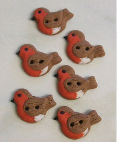 Robin Buttons made out of Fimo