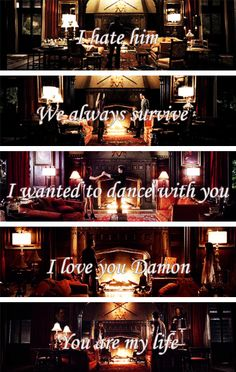 Damon, Elena & the fire place. Delena - The Vampire Diaries. ♥