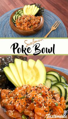 Satisfy your sushi craving with this twist on a hawaiian-inspired salmon poké bowl. It's refreshing, comforting, and incredibly delicious! Sushi Recipes, Salmon Recipes, Asian Recipes, Cooking Recipes, Healthy Recipes, Hawaiian Recipes, Salmon Poke Bowl Recipe, Poke Recipe, Hawaiian