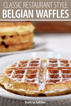 Make classic restaurant-style Belgian waffles at home! Best Belgian Waffle Recipe, Belgian Waffle Mix, Best Waffle Recipe, Belgian Food, Overnight Belgian Waffle Recipe, Belgian Desserts, Belgian Recipes, French Toast Waffles, Breakfast Waffles