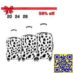 The 2015 largest discount! 12.16—12.31 Christmas sales! All luggage suitcases in E-bay American site with 50% off! Don't miss it!! http://stores.ebay.com/shxq2015 http://www.ebay.com/itm/Luggage-Suitcase-Cow-Print-Spinner-Wheels-Hardside-Luggage-Travel-20-24-28inches-/252181648125?