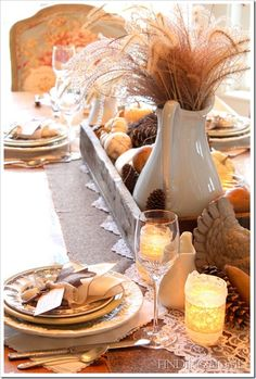 Fall Tablescape - love the white pitcher with grass