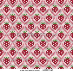Knitted seamless pattern strawberries