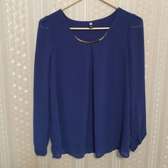 Long sleeve blouse  Very pretty blue :) only wore it once  no stain or anything like that :) Highfashion  Tops Blouses