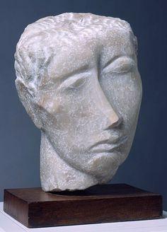 Ossip Zadkine - Tete d'homme - 1943 Осип Цадкин. Тете мужчина. 1943 г. Камень кварцевый. Портленд художественный музей, США.
