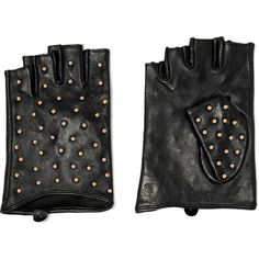 Karl Lagerfeld Studded leather fingerless gloves ($76) ❤ liked on Polyvore featuring accessories, gloves, black, studded fingerless leather gloves, karl lagerfeld, studded leather gloves, leather gloves and fingerless gloves