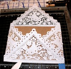 Laurl Designs: DYI Doily Wedding Envelopes and Liners- the how-to