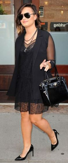 Demi out in New York wearing a Bailey 44 Giacometti Sheer Boyfriend Blazer