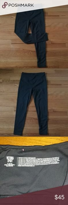 VS Knockout Leggings Victoria's secret knockout leggings in a size medium, short. I'm 5'4, and the length fit me perfectly. Only worn once. They are in perfect condition, I just don't like the way that they fit, and I prefer lululemon wunder unders. They have a drawstring detail in the waistband. Victoria's Secret Pants Leggings