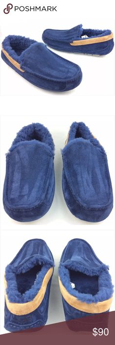 UGG MEN'S Ascot Navy Blue Moccasins Slippers Worn once, like new condition. | Shoes have minor dirty marks or spots. | Excellent condition | Color: Navy Blue and Chestnut | Size: 11 men's | Style Number: 1003784 | Authentic UGG Shoes Loafers & Slip-Ons