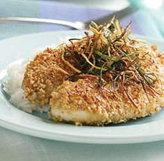 Peanut-Crusted Tilapia with Frizzled Ginger and Scallions...We LOVE this recipe!  It is so easy, and the peanuts make it SO yummy and perfectly balance the flavor of the ginger.