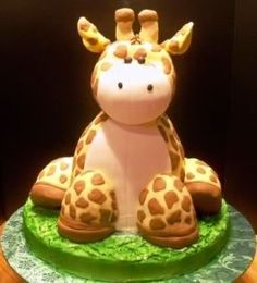Cute Giraffe Cake or Baby Shower. This cake is just adorable for your party. For more jungle/safari baby shower ideas go to: http://modernbabyshowers.blogspot.com