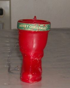 OLD RED PLASTIC * SANTA CLAUS BOOT CHRISTMAS ORNAMENT WITH LABEL Candy Container