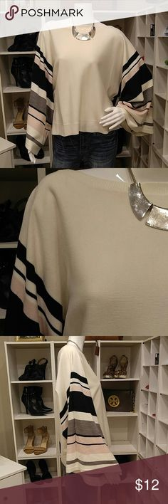 """NEW YORK & CO SWEATER L Excellent Condition New York & Company Sweater Size L Off white, Black and Pink Wide Sleeves Openings-13.5"""" Infinite Bust Room No picks Length-23"""" 100% Acrylic Machine washable inside out New York & Company Sweaters Crew & Scoop Necks"""