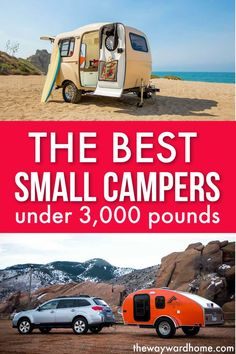 If you want to tow a small camper with a car, check out our top picks. These tiny travel trailers are adorable - one even doubles as a boat! Small Rv Campers, Small Travel Trailers, Travel Trailer Camping, Tiny Trailers, Vintage Travel Trailers, Camper Trailers, Vintage Campers, Vintage Caravans, Airstream Camping