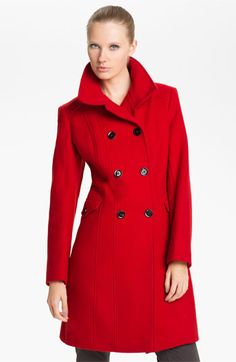 I absolutely love the red!!  Nicole Miller Double Breasted Wool Blend Coat | Nordstrom