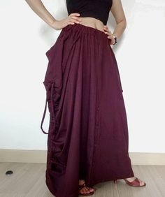 Burgundy Convertible Pant Or Skirt,Drop Crotch in Cotton Jersey. #tribalfashion #CasualWidelegsPants