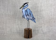 Blue Heron Stained Glass Bird Panel on Oak Wood by BerlinGlass