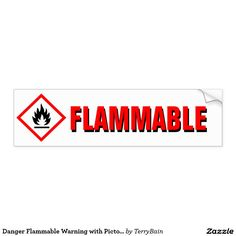 Danger Flammable Warning with Pictogram Car Bumper Sticker