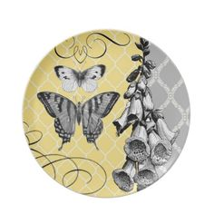 Modern Vintage graphic floral plate