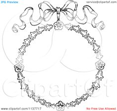 Clipart-Of-A-Retro-Vintage-Black-And-White-Bow-And-Flower-Frame-Royalty-Free-Vector-Illustration-10241137717.jpg (1080×1024)