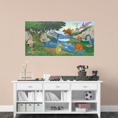 Mona Melisa Designs Dinosaur Boy Hanging Wall Mural Eye Color: Green, Hair Color: Red, Skin Shade: Light