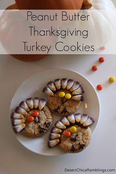 Peanut Butter Thanksgiving Turkey Cookies