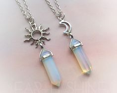Opalite crystal point necklace with sun or moon 22 by lotusfairy Bff Necklaces, Best Friend Necklaces, Friendship Necklaces, Crystal Jewelry, Crystal Necklace, Moon Necklace, Cute Jewelry, Jewelry Accessories, Glass Gemstone