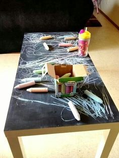 Use and old tabel and chalk board paint...so children can always be creative.