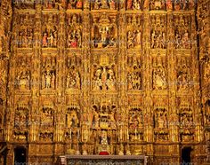 Seville Cathedral (Altar piece). The Cathedral of Saint Mary of the See is a Roman Catholic cathedral in Seville (Andalusia, Spain). It is the largest Gothic cathedral and the third-largest church in the world. After its completion in the early 16th century, Seville Cathedral supplanted Hagia Sophia as the largest cathedral in the world, a title the Byzantine church had held for nearly a thousand years. The cathedral is also the burial site of Christopher Columbus.