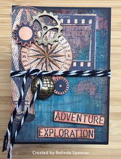 ATC by Belinda Spencer using Darkroom Door World Map, Steampunk and Photography Rubber Stamp Sets