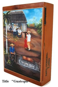 """Mother's day  Gift !! Humidor Cigar box w/ """"Guateque"""" Oil Paintings on Top ."""