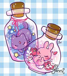 Bottle spirits   .  .  .  #spiritcat #spiritbunny #floral #galaxy #jennilustrations