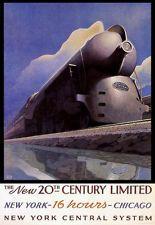 VINTAGE NEW YORK CHICAGO 20 CENTURY TRAIN TRAVEL TOURISM POSTER REPRO LARGE