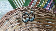 Blue handmade quilled earrings