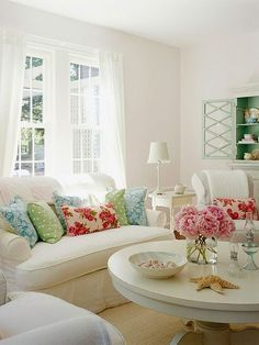 Delicate, floral living space.