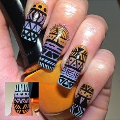 Orange, Purple, and Blue Aztec Nail Art