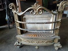 Antique Humphrey Brass and Cast Iron Gas Fireplace Insert with Lion Feet Fireplace Inserts, Gas Fireplace, Vintage Fireplace, Wood Stoves, Heating And Cooling, Old Wood, Cast Iron, Living Rooms, Arch